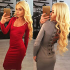 Women Long Sleeve Bandage Hollow Out Lace Up Bodycon Night Clubwear Party Dress
