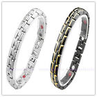 Men's Germanium Steel 4in1 Bio Magnet Brush Glaze Energy Therapy Bracelet Bangle