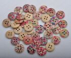20/50/100Pcs brown wood painted Sewing Buttons 4holes 15MM