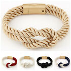 Unisex Trendy 2016 New Braided Rope Chain Magnetic Clasp Bangle Bracelet Gift