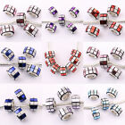 Lots 5/20Pcs Plaid Frosted Columnar Spacer Beads Necklace Craft Findings Jewelry