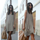 Women's Ladies Sleeveless V Neck Casual Loose Party Evening Mini Dress Sundress