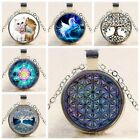 Metatron's Cube Art Photo Cabochon Glass Tibet Silver Chain Pendant Necklace