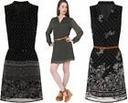 Womens Chiffon Dress Belted Ladies Casual Fashion Fully Lined Belt Frock Summer
