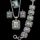 Vintage Look Antique Silver Plated Necklace Bracelet Earrings Shell Jewelry Sets