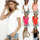 New Women Summer Casual Loose Short Sleeve V Neck Blouse Tee Top Lace Up T-Shirt