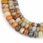Rondelle Faceted Natural Nephrite Hua Show Jade Stone Jewelry Making Beads 15""