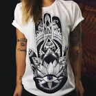 Women Short Sleeve Cotton Casual Blouse Shirt Loose Tops Sexy Summer T-shirt New