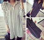 UK 8-26 Casual Women Turndown Collar Loose Striped Long Tops Blouse Shirt Dress