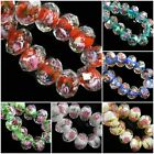Wholsale Rondelle Faceted Glass Crystal Rose Flower Inside Lampwork Beads Spacer