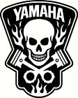 yamaha skull in flames vinyl decal window or bumper sticker for sale  Decatur
