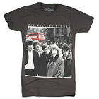 Rolling Stones - Group Photo w Red Bus - black t-shirt  - OFFICIAL