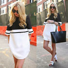 Womens Short Sleeve A Line Shift Dress Ladies T Shirt Mini Dress Striped Blouse