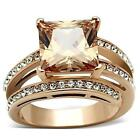 Women's Princess Cut CZ Orange Champagne Stainless Steel Rose Gold Plate Ring