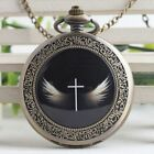antique Steampunk angel god  Pocket Watch Necklace cross pocket watch #004