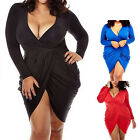 Sexy Women Plus Size L-3XL Deep V-neck Bandage Split Mini Dress Bodycon Club MO