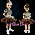 Girl Brown Leopard Print Pattern Pettidress Dress Tutu Pettiskirt Sz 12m-4T #108