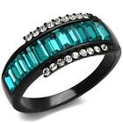 Black Stainless Steel Aquamarine Zircon cz Blue Baguette Cut Women's Band  Ring