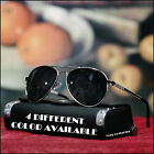 NEW MENS 80'S AVIATOR SUNGLASSES DRIVING RETRO VINTAGE OUTLINE LENS BLACK 50MM