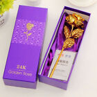 24K Gold Dipped Rose Long Stem Flower Valentine's Day Wedding Lovers Gift + Box