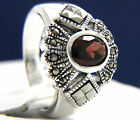 New Sterling Silver 1.30 CT Oval Cut Solitaire Garnet CZ Engagement Wedding Ring