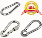 large & small GALVANISED Carabiner Clip ~ SCREW LOCK, EYE, BASIC Snap Hook Clips