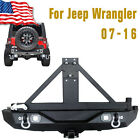 Rear Bumper with Tire Carrier Two 20W Work lights For Jeep Wrangler JK 07-16 US