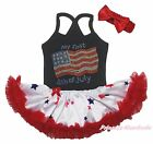 MY First 4th July USA Flag Black Halter Neck Bodysuit Twin Star Baby Dress 0-24M