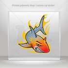 Decal Stickers Shark With Flames Helmet Atv Bike durable vinyl bike mtv ZZ466