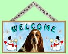 """Basset Hound 10"""" x 5"""" Winter Season Wooden Welcome Dog Sign New Made in USA!"""
