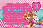 Personalised Age Girl Skye Paw Patrol Birthday Party Invites inc Envelopes CB95