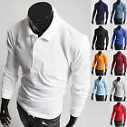 New Fashion Mens Stylish Solid Pure Cotton Polo Pique Collar Casual Shirts W823
