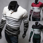 New Fashion Mens Modern Luxury Stripe Polo Pique Collar Casual Shirts Top W183
