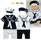 New Baby Boy Sailor crew One-Piece Romper Suit+matching hat  6-9M,9-12M,12-18M