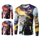Men Stylish Cotton 3D Print T-shirt Long Sleeve Tops God of War M-XXL