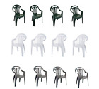 Set Of 4 Plastic Garden Patio Lawn Chair Low Back Stacking Armchair Chairs Seat