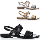 Womens Buckle Flat Strappy Sandals Shoes Sz 3-8
