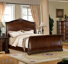 NEW PENBROKE FORMAL BROWN CHERRY FINISH WOOD SLEIGH QUEEN KING MASTER BED