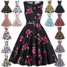 New Vintage Retro 1950s Floral Rose Pattern Swing Circle Party Dress Plus Size