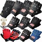LEATHER FINGERLESS GLOVES BIKERS GYM DRIVING CYCLING PAINTBALL & WHEELCHAIR USE