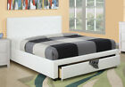 Functional Tufted Headboard Platform Bed w/ Underbed Drawer Faux Leather White