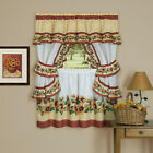 Chevron Sunflower Complete Cottage Kitchen Curtain Set by GoodGram - Asst. Sizes