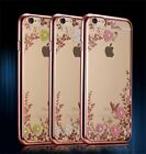 Luxury Diamond Flower Ultra-Thin Clear Back Case Cover for iPhone Samsung Phones