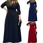 Hot New Plus Size V-Neck 3/4 Sleeves Party Evening Cocktail Gowm Maxi Long Dress