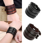Fashion Women Men Punk Wide Genuine Leather Belt Bracelet Bangle Cuff Wristband