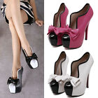 Fashion Women's Cute Bow PU High Heels Party Club Platform Pumps Stiletto Shoes