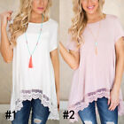 1 Pc Solid Color Casual Top Tee Crew Neck Lace Fringe Short Sleeved Women New