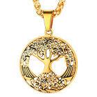 U7 Stainless Steel Tree of Life Round Pendant Necklace 18K Gold Plated Jewelry
