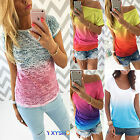 Womens Ladies Summer Gradient Casual Short Sleeve T-shirt Round Neck Tops Blouse