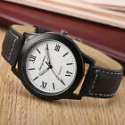 Fashion Analog Black Case White Dial Quartz Bracelet Leather Sport Men Watch